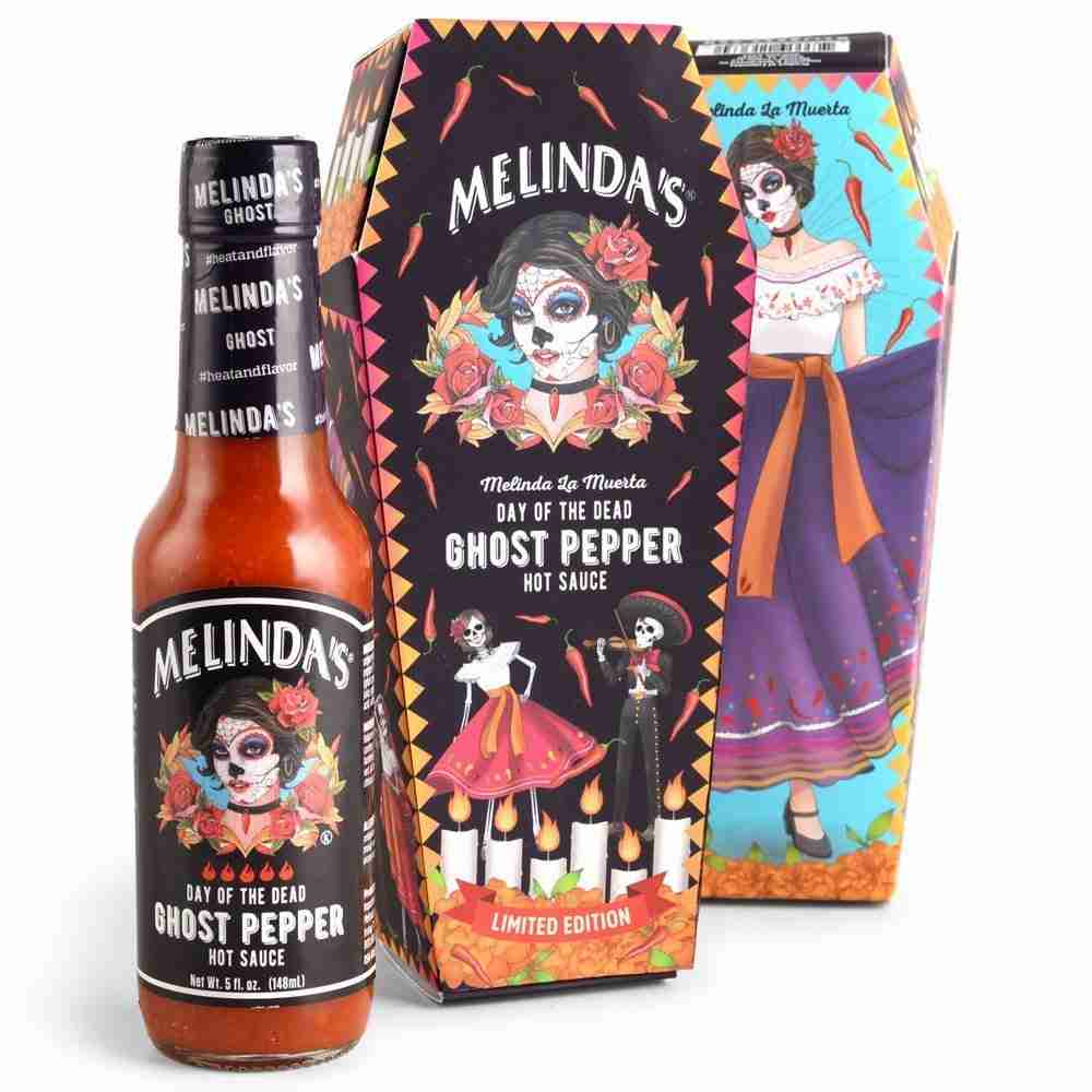 """Melinda's """"La Muerta"""" Limited Collector's Edition Day of the Dead Ghost Pepper Sauce"""